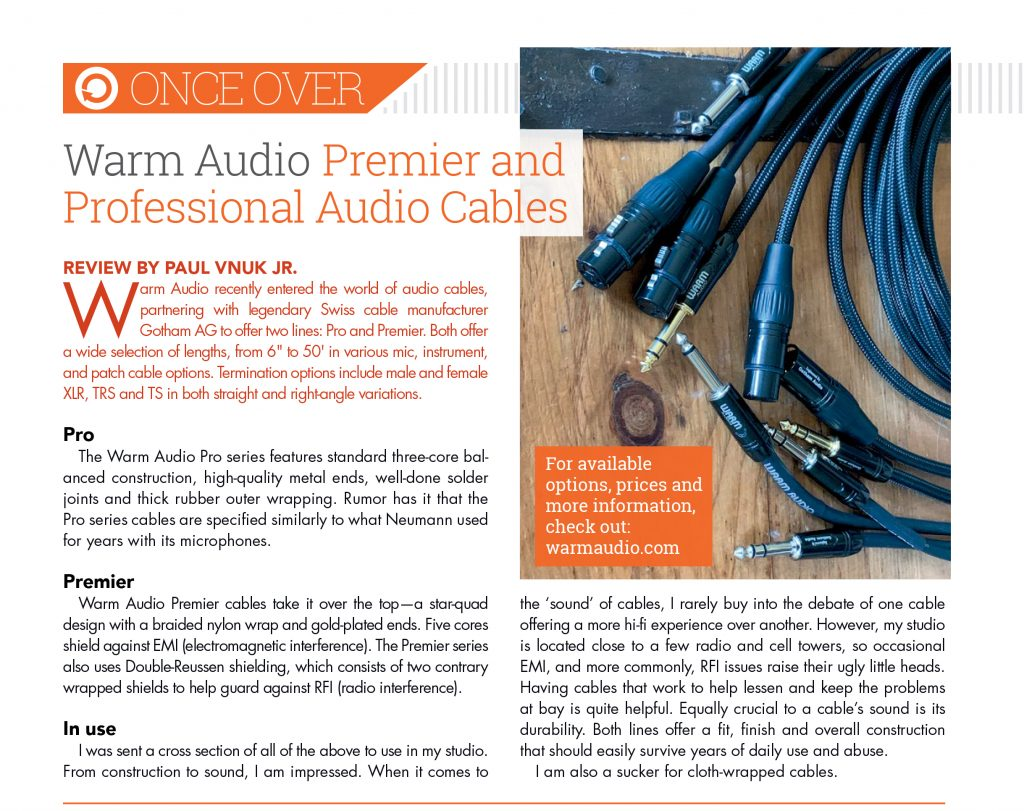 Warm Audio Cables Review by Recording Magazine